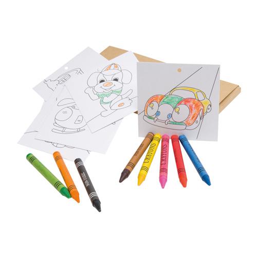 Set Per Colorare Con 8 Pastelli A Cera E 8 Fogli Con Illustrazioni